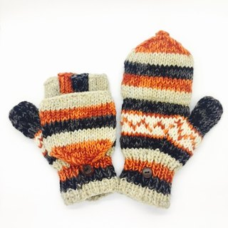 Nepal 100% wool hand-knitted pure wool thick gloves - gray meter x Orange x Nordic style