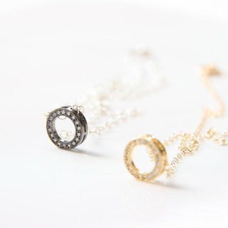 """Chain circle"" sterling silver plated necklace 1 / Sterling silver plated gold with CZ pendant"