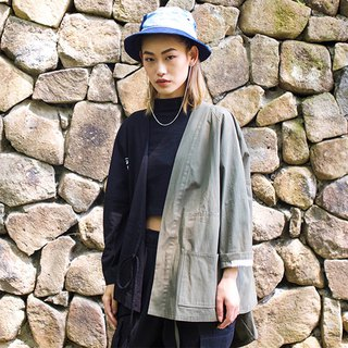 JANWONG new army green Japanese workwork splicing gowns spring summer sun clothes kimono cardigan retro men and women jacket (guest models)