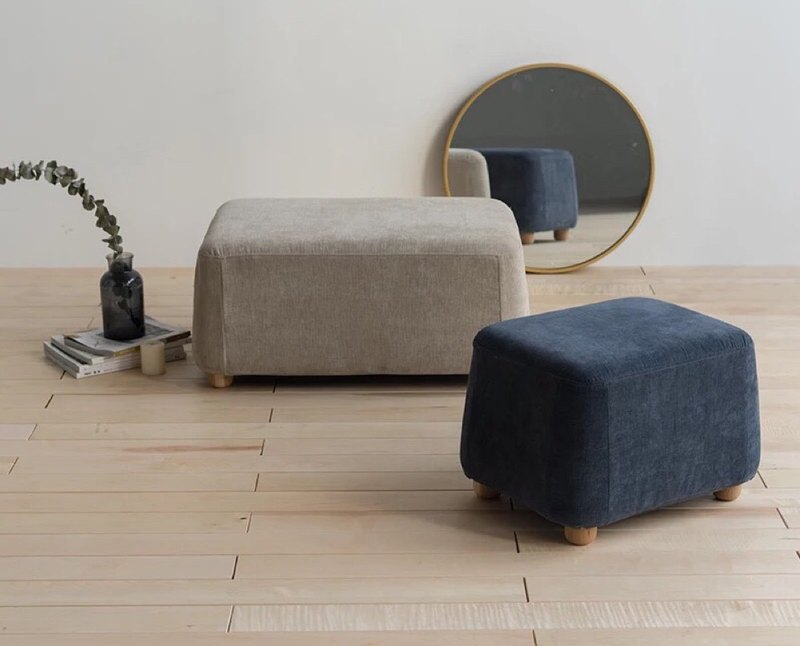 Lushan Workshop - Design Furniture - Cotton Burlap Sofa Stool Solid Wood Foot Removable - Double - Gray Blue