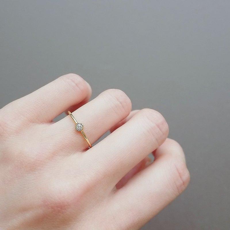 天然鑽石單顆包鑲純 14K 金細戒 | 客製手工