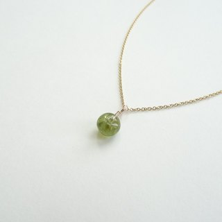 ::Daily Jewels:: Tourmaline Disc Candy Pendant Dainty 14K GF Necklace ◆ Olive Green