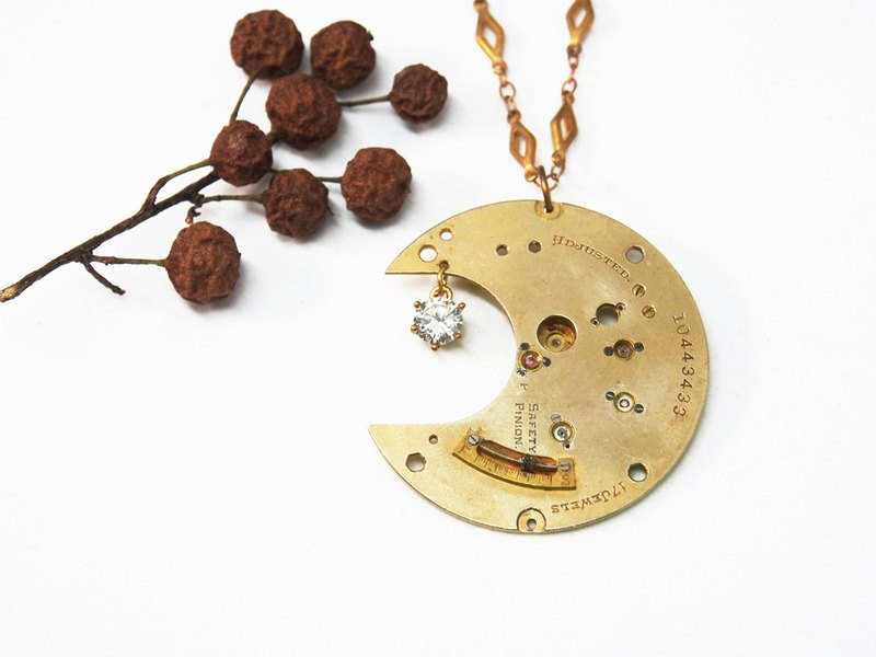 Steampunk moon light-gold