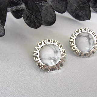 Circle stone earrings / silver