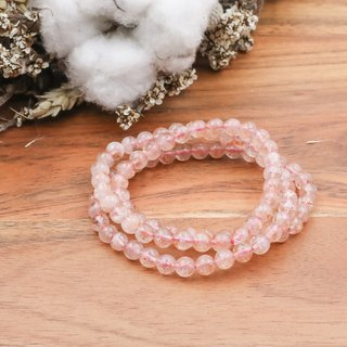 Strawberry crystal three circle stone bracelet | natural stone bracelet full ore series