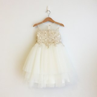 Ivory 3-layered Tulle Dress with Lace Top & Illusion Neckline