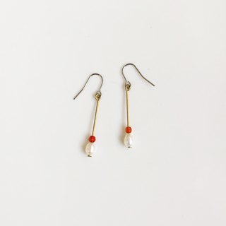 RED red agate pearl brass earrings