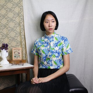 FOAK vintage Chinese classical floral buckle flower shirt