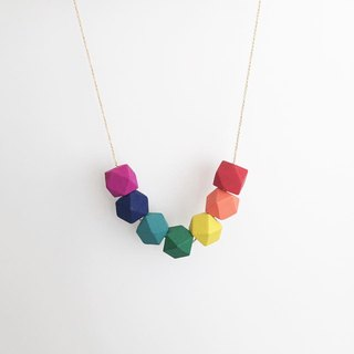 LaPerle Lucky Rainbow Six Color Rainbow Geometry Wooden Bead Necklace Necklace Necklace Necklace Birthday Gift Gay Geometric Wooden Rainbow Necklace