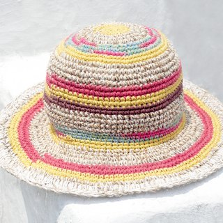Valentine's Day gift limited to a hand-woven cotton / hat / hat / fisherman hat / straw hat / straw hat - South America Machu Picchu gradient ice cream linen