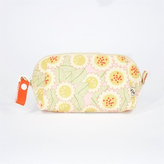 Ra Eco-friendly Super Light Waterproof Floral Cosmetic Pouch (Pink Gerbera)