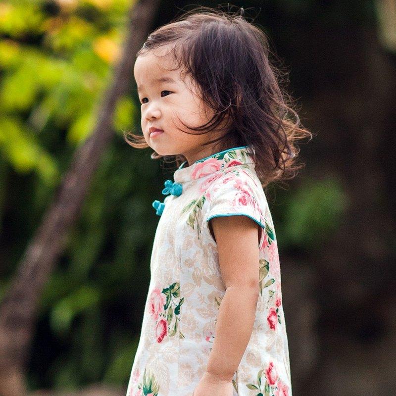 兒童旗袍 古風 秋季款 花系列薔薇款(米色)