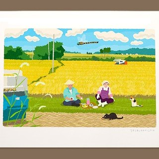 Tabineko illustrations printed sheet -21 | harvesting of the lunch break | Art poster