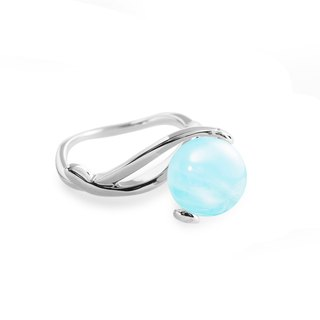 March Birthstone Aquamarine Ring, Blue Stone Wedding Ring, Silver Promise Ring
