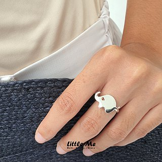 Handmade Little Elephant Ring - Silver plated on brass, Animal Jewelry
