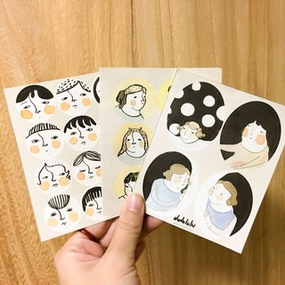 Faces and girls round stickers