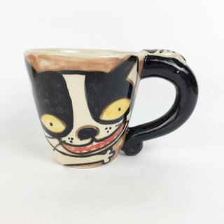 Nice Little Clay wide mouth mug black and white cat 01062-02