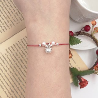 *Le Bonheur Line Happiness Line*925 sterling silver pearl double silver bead design section / red line bracelet design ultra-fine line Marriage peach red rope hand rope