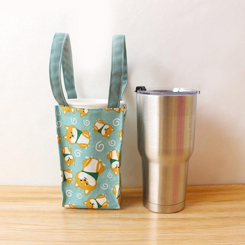 柴犬-綠底飲料提袋(大) 環保杯袋 冰霸杯袋