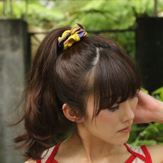 """L'Amour Caché"" yellow purple printed pure silk elastic fashion hair ring"