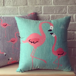 Zoo friends / flamingo-sided peace of paragraph lunch / 43cm x 43cm large pillow