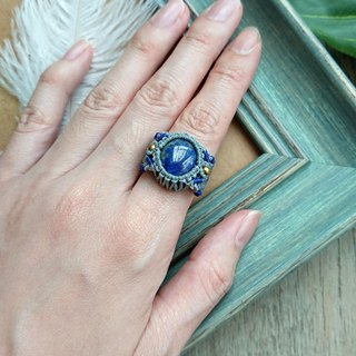 Misssheep-R04-National Wind South American Wax Line Braided Brass Lapis Ring
