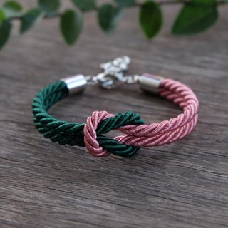 Dusty rose & Dark green knot rope bracelet
