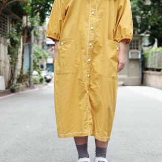 Japanese mango yellow v-neck puff sleeve shirt dress