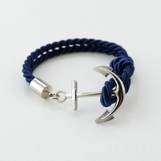 Anchor bracelet / Navy blue twisted rope