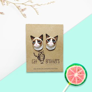 Grumpy Cat Earrings, Cat Stud Earrings, cat lover gifts