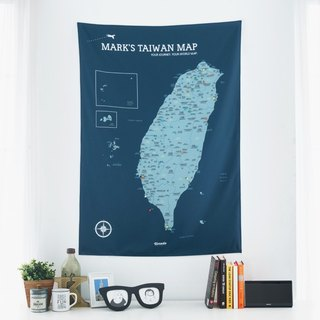 Taiwan map - your exclusive map of Taiwan (cloth). Peak mine blue