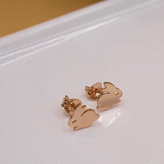 Handmade Mini Bunny Earring - Pink gold plated on brass, Tiny Earring, Animal