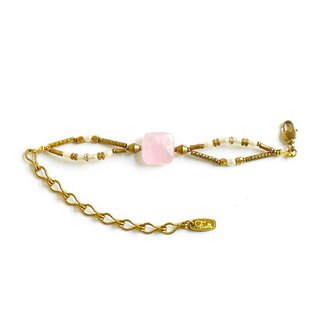 Ficelle | Handmade Brass Natural Stone Bracelet | [Pink Crystal] Old and Time Interlaced Movies