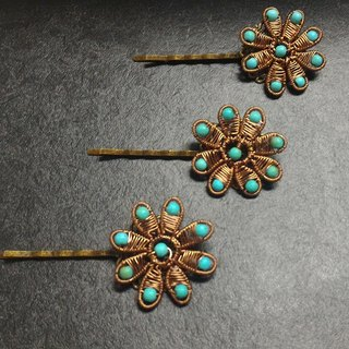 [] JTBREW wire braid Turkey turquoise flower hairpin complex bronze (1 pc)
