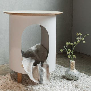 METALION Full Metal Side Table - Yunmeng White (with long hair trim mat)