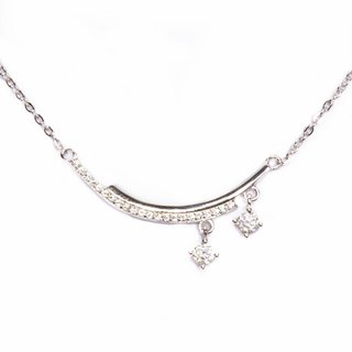 [Lalune] 925 sterling silver light in the dark double arc hanging double drill clavicle chain