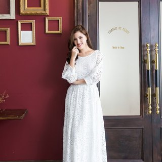 Kan's retro puff sleeves three-dimensional embroidery lace long dress (can be a dress) - pure white