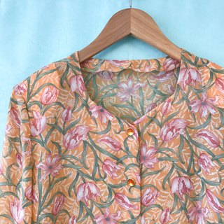 Top / Peach Long-sleeves Floral Top