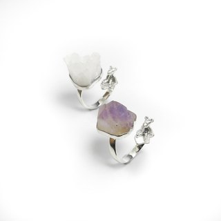 READ Dazzling Home sterling silver ring Amethyst Polar Bear Iceberg Environmental