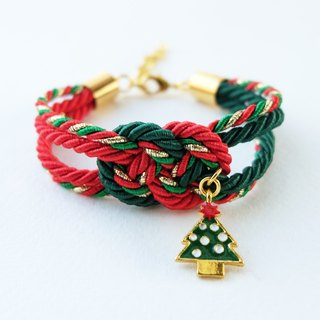 Christmas gift collection , Red/Green/Gold infinity knot rope bracelet with Christmas tree charm