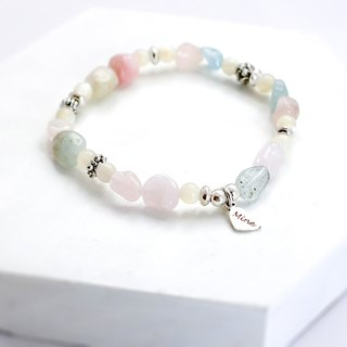 Color cotton natural stone silver bracelet │ pink gift birthday Morgan Stone Valentine's Day