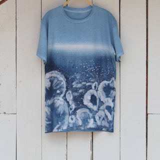 Free dyeing isvara handmade blue dye symbiotic series of sea stone cotton T-shirt