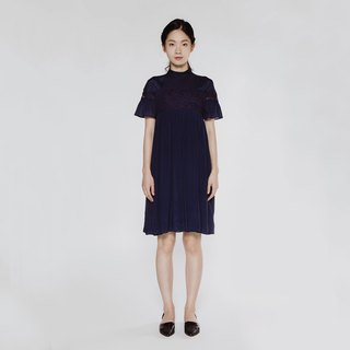 窈窕 lady small high collar lace dress Fair Lady Lace Joint Dress