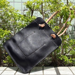 Personality black long shoulder tote out package (Nora)