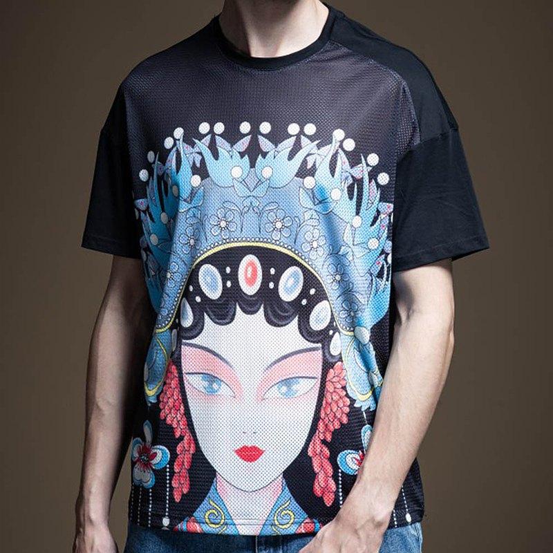PINLI品立夏季男裝國潮戲劇修身印花短袖T恤