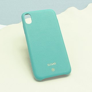 Custom multi-color genuine leather series macarons dream color Tiffany blue leather iPhone case