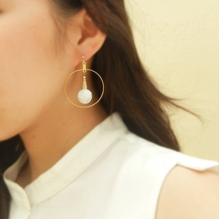 *Checoubird*inked brass large round earrings