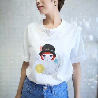 Color clown modeling T-shirt female version of the five-point sleeve oblique shoulderless line white T-shirt short-sleeved