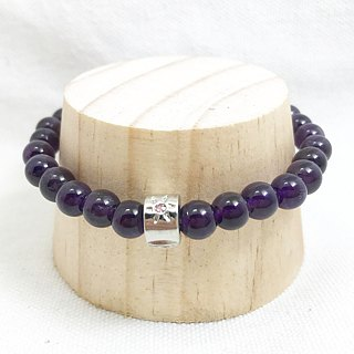 Amethyst 6mm Beads Bracelet Precious Stones A-class Natural Silk