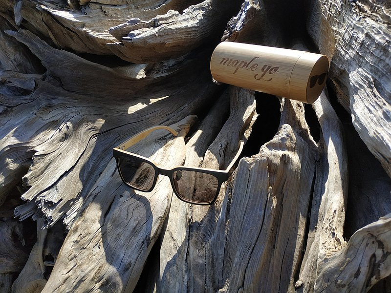 竹製心潮黑框墨鏡